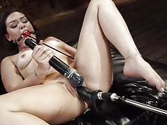 babe, busty, fucking machine, dildo, vibrator, brunette, from behind, ball gag, pussy insertion, hitachi, fucking machines, kink, kimber woods
