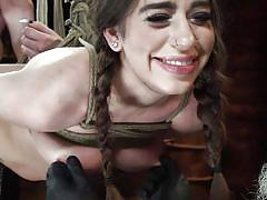 bdsm, babe, domination, hairy pussy, pussy torture, suspended, tits torture, weight on tits, rope bondage, nipples pinching, hogtied, kink, joseline kelly