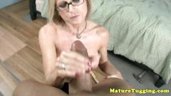 Spex cougar milf jerking on his dick very hard