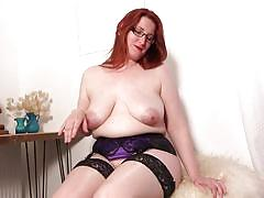 glasses, solo, saggy tits, masturbation, stockings, huge tits, fingering, hairy pussy, boobs grope, clit rubbing, mature nl, autumn temptation