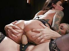 milf, bdsm, strapon, lesbians, big boobs, kissing, tattooed, lezdom, cowgirl, from behind, ass whipped, whipped ass, kink, gia dimarco, julia ann