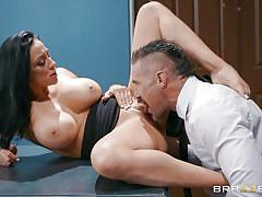 milf, handjob, big tits, office, blowjob, titjob, pussy eating, sideways, on table, dark hair, big tits at work, brazzers, audrey bitoni, charles dera