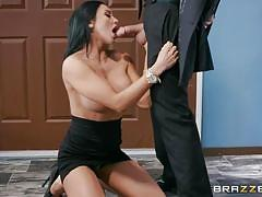 Busty audrey uses her mouth and tits to get a raise