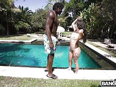 handjob, babe, interracial, deepthroat, blowjob, brunette, outdoors, swimming area, bbc, monsters of cock, bangbros, gina valentina, louie smalls