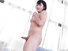 Shy japanese trans lady poses and spreads