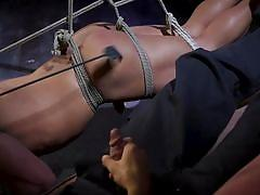 sex slave, blindfolded, rope bondage, suspended, mouth gag, bdsm, whipping, domination, punishment, bound gods, kink men, draven navarro, brian adams