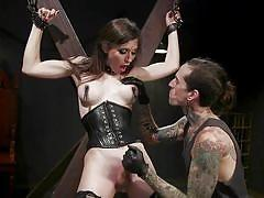 tranny, domination, big tits, blowjob, handjob, nipple clamps, bondage device, slave, corset, brunette, tattooed, master, ts seduction, kink, ruckus, korra del rio