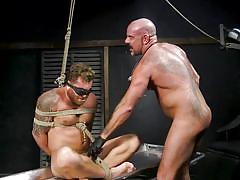 Bound, blindfolded, whipped and face fucked