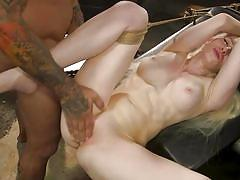 This blonde likes it when she's tied up and fucked hard