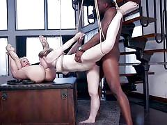 Bound hottie eats pussy while getting fucked
