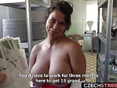 Busty czech beauty fucks for money