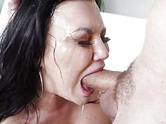 Taking a big juicy load of cum all over the face