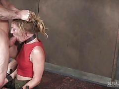 Blonde sub in bondage throatbang