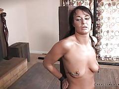 milf, bondage, bdsm, vibrator, brunette, natural tits, electrified, tits torture, nipple clamps, real time bondage, london river