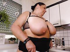 big ass, mature, saggy tits, stockings, kitchen, huge tits, masturbating, bbw, food fetish, mature nl, abby tits