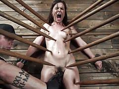 bdsm, babe, torture, domination, vibrator, brunette, hairy pussy, pussy rubbing, device bondage, kink, juliette march