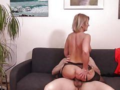 Busty blonde milf enjoys reverse cowgirl position