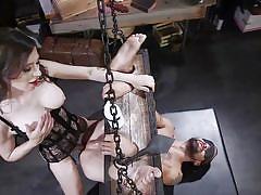 tranny, bdsm, domination, anal sex, big tits, sex slave, rimjob, blindfolded, device bondage, ts seduction, kink, korra del rio, dj x