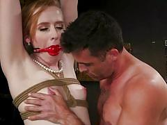 Redhead tranny gets tortured and face fucked