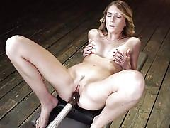 tattoo, blonde, bdsm, solo, dildo, from behind, pussy rubbing, fucking machines, kink, charlotte sins