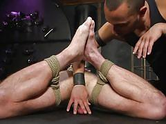 blindfolded, rope bondage, mouth gag, bdsm, cock torture, handjob, threesome, anal, vibrator, domination, punishment, men on edge, kink men, donnie argento