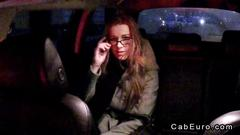 Amateur with glasses fucks in fake taxi