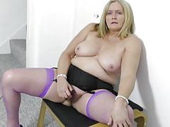 blonde, big ass, big tits, mature, solo, masturbation, stockings, vibrator, bbw, mature nl, antoinette