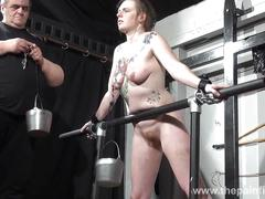 Basket hung from nipples in extreme tit torture and sex toy