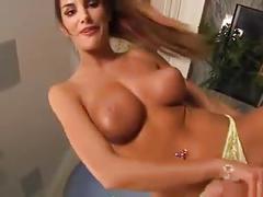Hotie big tits blowjob hard