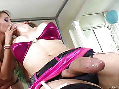 Tranny in fishnets gets her cock sucked by sexy female
