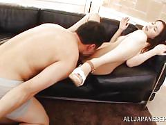 Japanese slut with bald pussy sucks his cock