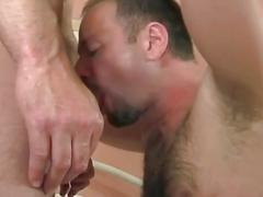 Fervent coition with horny hairy daddy bears with their morning