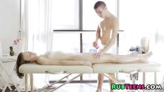 Teen gets to be fingered by her hunky masseur
