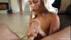 Milf swallowing sperm and his whole cock pov