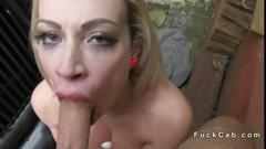 Cheated british wife fucked in a fake taxi