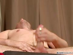 Amateur stud dayle vickers strips and jerks cock