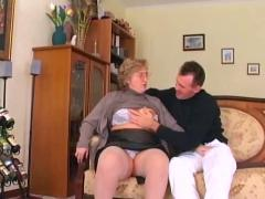 Chubby granny in stockings sucks and fucks