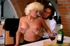 Crazy old mom gets fucked hard in pussy and asshole