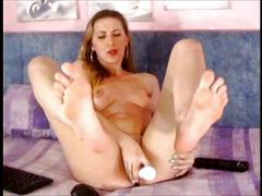 Masturbating feet show and cum in mouth