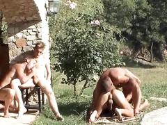 Hotter than the sun bodies fucking hardcore outside in hot orgy