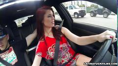 Latina strokes and blows while driving a car
