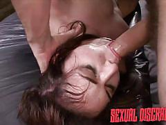 deepthroat, slave, bound, blowjob, gagging, from behind, brunette babe, in chain, sexual disgrace, fetish network, stella may