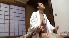 Mature woman in kimono fucked by guy creampie on the...