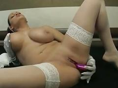 I am pierced busty porn star in stoking with toy piercings