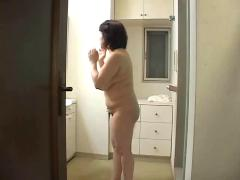 Japanese mother takes shower with  her friend