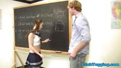 Jerking loving schoolbabe plays with dick