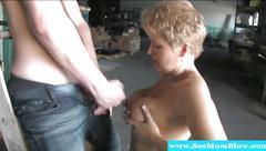 Mature slut sucks cock and she wants cum