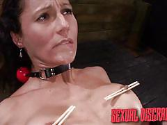 milf, deepthroat, brunette, from behind, disgrace, in chains, nipple clamps, hard fucking, sexual disgrace, fetish network, fiona rivers