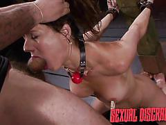 deepthroat, dungeon, tied up, face fucking, hair pulling, brunette babe, nipple clamps, sexual disgrace, fetish network, fiona rivers