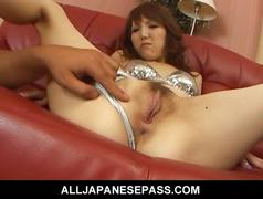 Japanese milf ai in a silver bikini smoked
